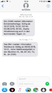 Screenshot einer KATWARN - Warnung