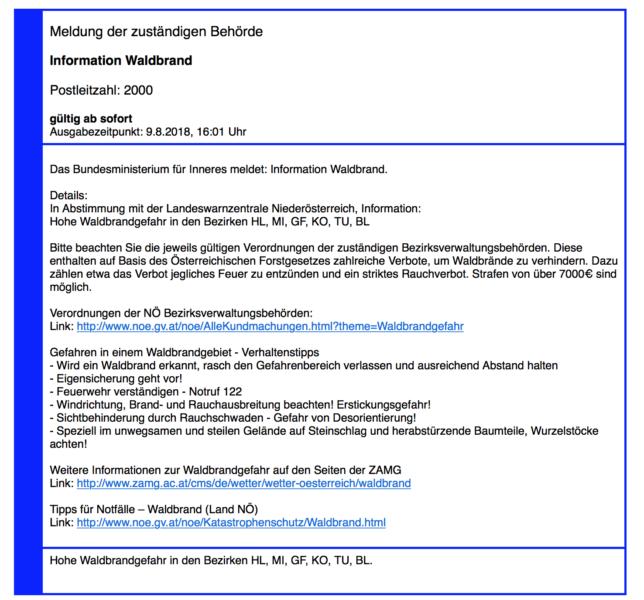 Screenshot der Katwarnbenachrichtung via E-Mail // Michael Mike Meier, Stockerau, Blogger, Blog, Feuerwehr,